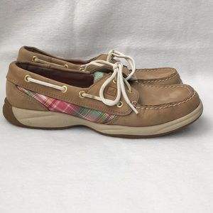 Sperry Loafer/Boat Shoes. size 7.5. Tan with pink.